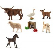 Schleich New Set of 7 Farm Animals: Texas Longhorn Bull, Appaloosa Stallion, Piglet and Feed, Golden Retriever, Goat Kid and Lamb in Bag with Tissue Paper