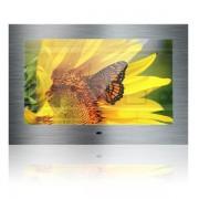 Nemo Stock Mues Tec keuken TV front in roestvrijstaal brushed met 56cm beeldscherm IP65 totale grootte spiegel 60 x 41,5 cm met montageframe waterdichte afstandsbediening 12V KG-2200