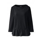 ランズエンド LANDS' END レディース・コットン・ペプラム・プルオーバー/無地/七分袖(ブラック)