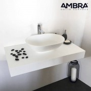 Ambra Plan suspendu en solid surface 90 cm - Blanc