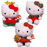 """Ty Hello Kitty Christmas Beanie Baby Collection Set Of 3 Plush 6"""" (Reindeer, Gingerbread Man, Holiday Scarf)"""