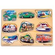 Vehicles Theme Classic Style Sound Puzzle + FREE Melissa & Doug Scratch Art Mini-Pad Bundle [02677]