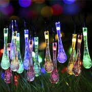 water drop : S&G Fairy Garden Lights, Multi-Color 7.85M 40 Solar Powered Waterproof Water Drop String Lights Christmas Decoration LED String Light for Outdoor, Garden, Patio, Yard, Home, Christmas Tree, Parties