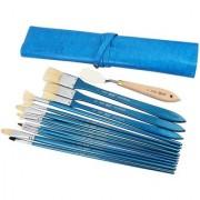 Bianyo Flat Filbert Bright Fan Round Paint Brushes (Set of 13 Blue)