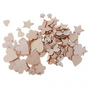 C2K Pack of 100 Assorted Wooden Shape Hearts Plum Flower Star Embellishments for Scrapbooking Craft