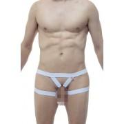 Petit-Q Open Enhancement Silicone C Ring String Jock Strap Underwear White PQ170729