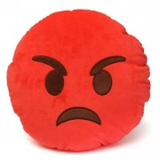 Soft Smiley Emoticon Red Round Cushion Pillow Stuffed Plush Toy Doll (Very Angry)