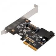 Adaptor Silverstone ECU04-E Low Profile de la slot PCI Express 2.0 x2 (10Gbps) la conector intern 19pin USB 3.1, alimentare SATA