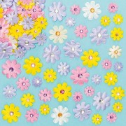 Baker Ross 3D Fabric Flower Stickers - 60 Satin Stick On Craft Flowers. Stickers For Scrapbooking & Cards. Size 1.8-3.5cm.