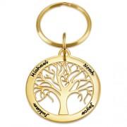 MittNamnHalsband Personlig nyckelring med familjeträd i guldplätering
