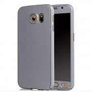 Silver Samsung Galaxy S6 360 Degree Case with Tempered Glass Guard