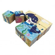 Volks Rose 9 Pcs Wooden Cube Block Jigsaw Puzzles Marine Life Pattern Blocks Puzzle For Child 1 Year And Up Perfect Christmas Gift For Your Kids