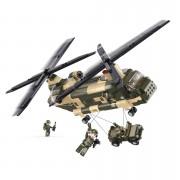 Stavebnice Sluban Army vrtulník Chinook s malým jeepem M38-B0508