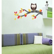 EJA Art color tree with owl Wall Sticker (Material - PVC) (Pec - 1) With Free Set of 12 pec butterflies sticker