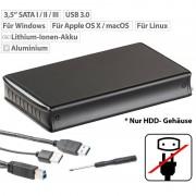 "Xystec Netzteilloses USB-3.0-HDD-Gehäuse für 3,5""-SATA-Festplatten, Aluminium"