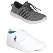 ROMANO Men's Combo Pack of 2 HI (GREY BLACK) SNEAKER & MR1(WHITE) Sneakers (MULTICOLOR) Sneakers For Men(Black)