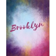 Brooklyn: Brooklyn Personalized Sketchbook/ Journal/ Blank Book. Large 8.5 X 11 Attractive Bright Watercolor Wash Purple Pink Or