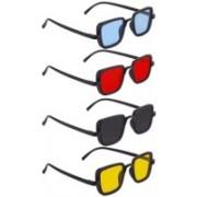Briota Retro Square Sunglasses(Black, Blue, Red, Yellow)