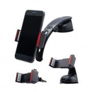 Shop4 - Universele Telefoonhouder Auto Kit 3 in 1 Dashboard- en Ventilatiehouder Zwart