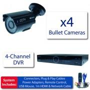 Profi kamerový systém 4x 960H bullet kamery + DVR s 1TB HDD