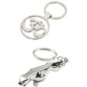 KD COLLECTIONS Combo of Jaguar and OM Metal Keychain Keyring Full Metallic Key Chain