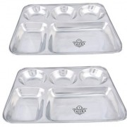 Taluka (13 x 10.7x1 inches) Pure Stainless Steel 5 in 1 Compartment Plate Thali Bhojan Thali Steel Plate Food Dinner Snacks Plate Set OF 2