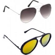 Hrinkar Aviator Sunglasses(Grey, Golden)