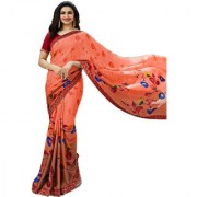 Indian Style Sarees New Arrivals Women's Orange Color Georgette Printed Saree With Blouse Bollywood Latest Designer Sare