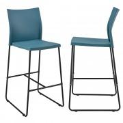 [en.casa]® Bárszék Moszkva 2 darabos design konyhai szék szett 107 x 31 x 48 cm türkiz