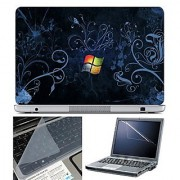 FineArts Laptop Skin 15.6 Inch With Key Guard & Screen Protector - Color Blue Windows Wallpaper