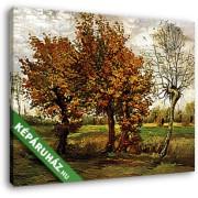 Vincent Van Gogh: Őszi tájkép négy fával (1885) (30x25 cm, Vászonkép )