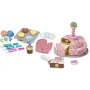 Maven Gifts: Melissa And Doug Wooden Playsets Bundle Triple Layer Party Cake With Bake And Decorate Cupcake Set Ages 3 And Up Imaginative Fun