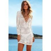 Rochie tricotata de plaja, cu maneci lungi si snur pe decolteu