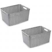 Bellatio Decorations 12x Zilveren geweven opbergboxen/opbergmanden 18 liter kunststof
