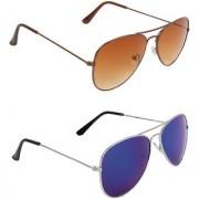 Zyaden Brown UV Protection Aviator Unisex Sunglasses (Pack of 2)