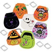 Halloween Drawstring Plastic Goody Bags & Glow-in-the-Dark Vampire Fangs - Party Favors