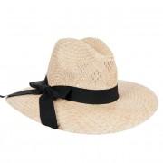 FASHIONDESIGN cappello con tesa larga in paglia naturale e nastro decorativo nero