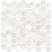 In Home NH2359 azulejos hexagonales de mármol sintético para despegar y pegar, color blanco y blanco roto