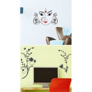 Set of 2 - WallTola Wall Stickers Maa Durga and Sober Vines TV Background Wall Stickers