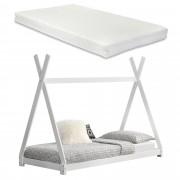 [en.casa]® Kiságy fenyőfa gyermekágy matraccal 200 x 90 cm sátortetős kialakítás matt fehér