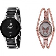 IIK Collction Black-Silver and Round Dial Butterfly Chain Copar Women Watches Couple for Men and Women