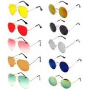 Elgator Aviator, Round Sunglasses(Yellow, Red, Pink, Orange, Green, Silver, Blue, Black)