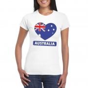 Bellatio Decorations Australische vlag in hartje shirt wit dames