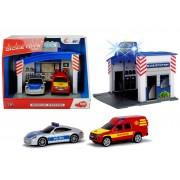 Masina de politie si masina de pompieri cu lumini si sunete Dickie Toys