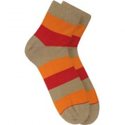 Soxytoes Stripes Of Wonder Beige Cotton Ankle Length Pack of 1 Pair Striped Unisex Casual Socks (STS0003E)