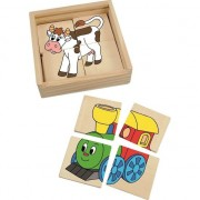 Puzzle Woodyland Set mini voioase din lemn 16 piese