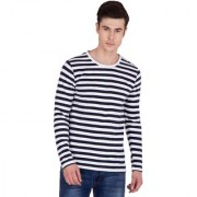 PAUSE Blue Stripes Round Neck Slim Fit Full Sleeve Men's T-Shirt