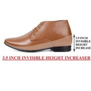 BXXY 9 cm (3.5 Inch) Tan Height Increasing Formal And Casual Pu Leather Derby Boots for All Occasions