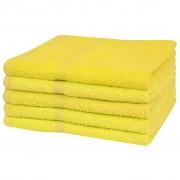 vidaXL 5 db sárga 100% pamut fürdő törölköző 360 g/m² 100 x 150 cm