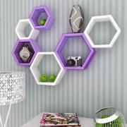 Onlineshoppee Fancy Set of 6 Hexagonal Shape MDF Wall Shelf Big Size ( 10.5 x 4x 10.5) inch Color- Purple White